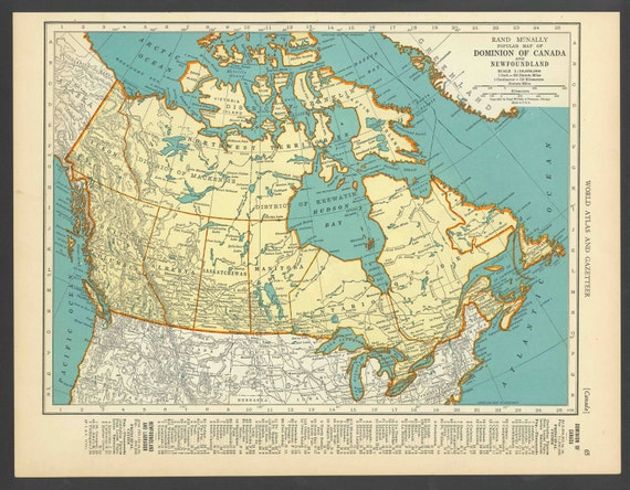 Vintage Map of Canada From 1937 Original