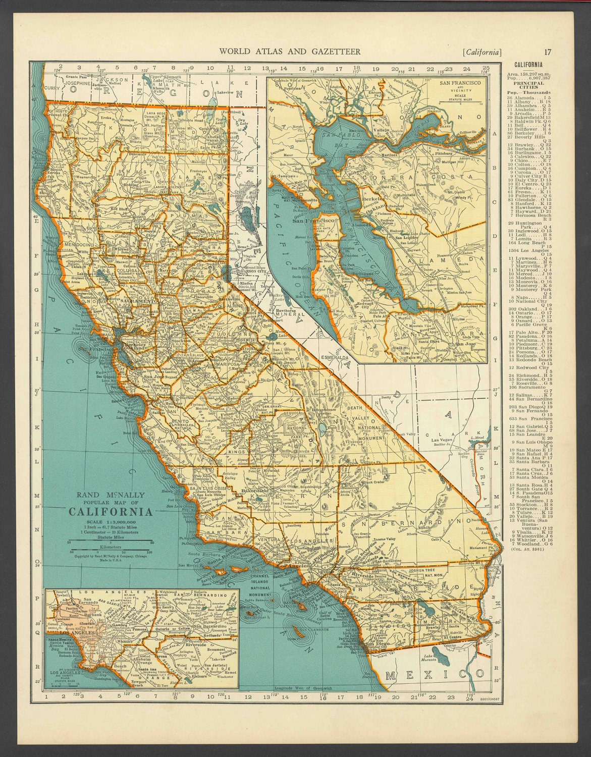 Vintage Map Of California From 1937 Original