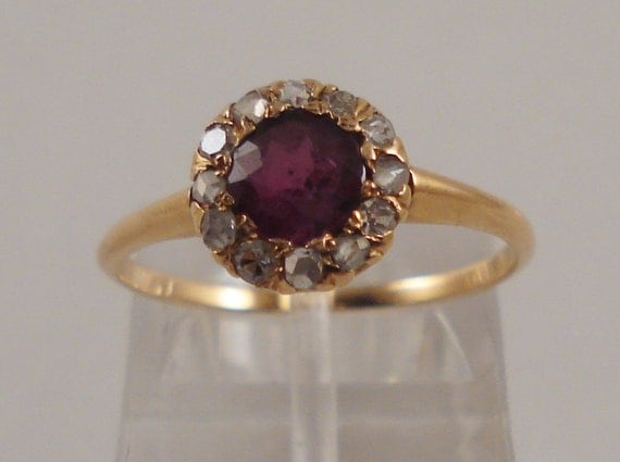 Reserved for Hatorihanso-Antique 14K Gold Pink Tourmaline and Diamond Ring - FREE SHIPPING