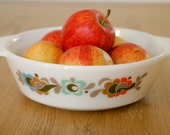 Pyrex Casserole Dish - White With English Carnaby Design