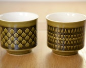 Pair of Vintage 70's Hornsea Pottery Green Pots