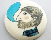Bearded man brooch by AtelierGilet - Blabla in turquoise - LARGE