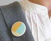 Mint yellow brooch minimal jewelry by AtelierGilet - Hopscotch n. 9