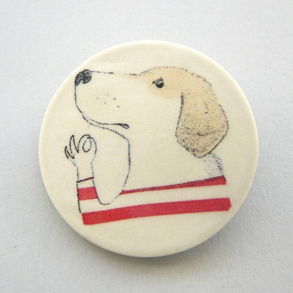 Striped shirt illustrated porcelain brooch - the Gondolier - SMALL