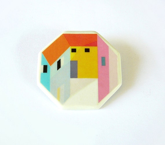 RESERVED for JANE Octagonal city brooch geometric porcelain jewelry by AtelierGilet -Mini City n. 1