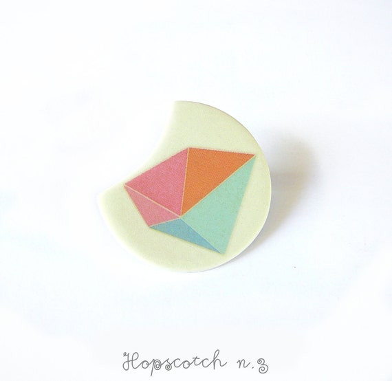 Pastel prism brooch minimal jewelry by AtelierGilet - Hopscotch n. 3