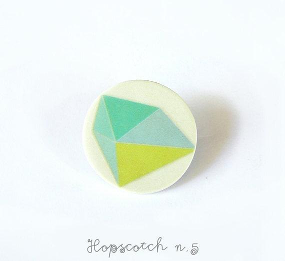 Geometric brooch minimal jewelry by AtelierGilet in lemon-mint-green - Hopscotch n. 5
