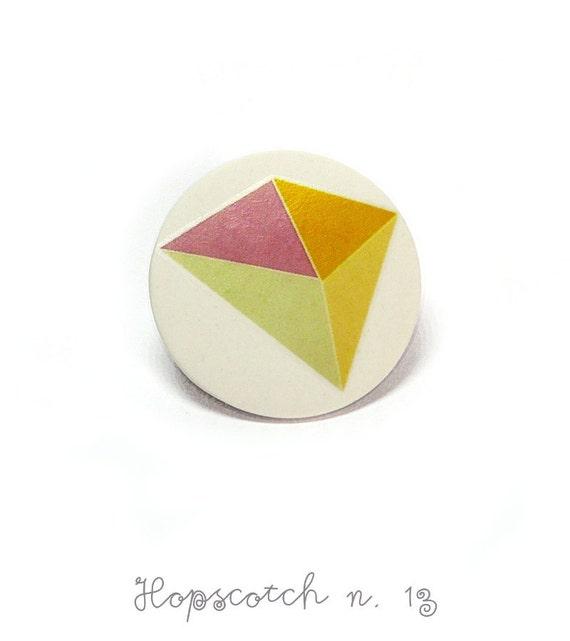 Pastel geometric brooch minimal ceramic jewelry by AtelierGilet - Hopscotch n. 13
