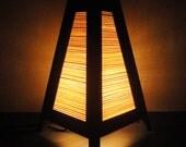 Asian Oriental Zen Art Design Bamboo Bedside Desk or Table Lamp Wood or Bedside Paper Light Shades Furniture Home Decor