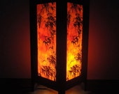 Asian Oriental Dawning Sunset Japanese Art Bedside Desk or Table Lamp or Bedside Wood Paper Light Shades Furniture Home Decor