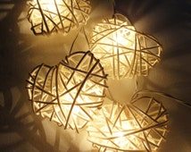 20 White Heart Rattan Lover Fairy Lights String 3m Valentine Party Patio Wedding Floor Table or Hanging Gift Home Decoration