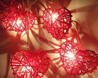 20 Red Heart Rattan Lover Fairy Lights String 3m Valentine Home Decor