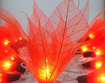 Battery or Plug 20 Orange Bodhi Leave Flower Fairy Lights Floral Party Patio Wedding Garland Gift Home Living Bedroom Holiday Hanging Decor