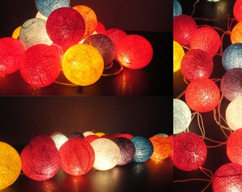 35 Mixed Tone Cotton Balls Fairy String Lights Party Patio Wedding Floor Table or Hanging Gift Home Decor Living Bedroom Holiday