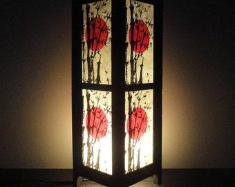 15'' Tall Asian Oriental Japanese Sunset Zen Art Bedside Floor Table Lamp Desk Paper Light Shades Living Bedroom Furniture Home Decor
