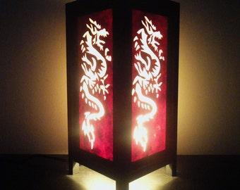 Asian Oriental Yakuza Japanese Dragon Zen Art Bedside Floor Table Lamp Desk Paper Light Shades Gift Living Bedroom Furniture Home Decor