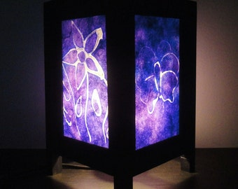 Asian Oriental Purple Butterfly Flower Batik Zen Art Bedside Floor Table Lamp Desk Paper Light Shades Living Bedroom Furniture Home Decor