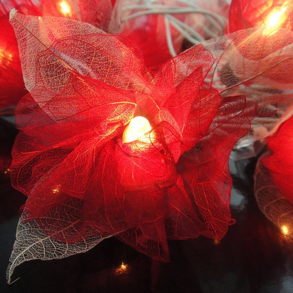 20 Red Carnation Flower Fairy STRING LIGHTS Hanging Wedding Gift Party Patio Wall Floor Home Accent Floral Decor