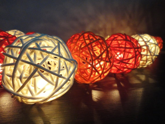 20 Mixed Sunshine Handmade Rattan Balls Fairy String Lights Party Wedding Floor Hanging Wall Gift Home Decor Living Bedroom Holiday Night