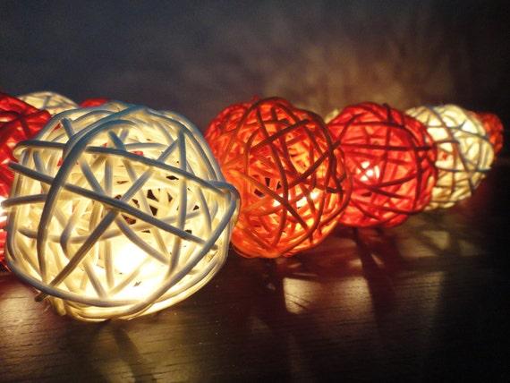 20 Mixed Sunshine Tone Handmade Rattan Balls Fairy String Lights Party Wedding Patio