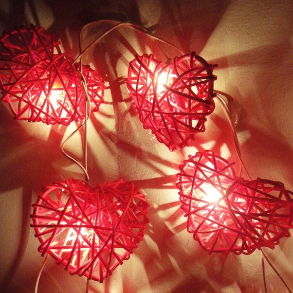 String Lights Valentines : 20 Red Heart Rattan Lover Fairy Lights String 3m by marwincraft