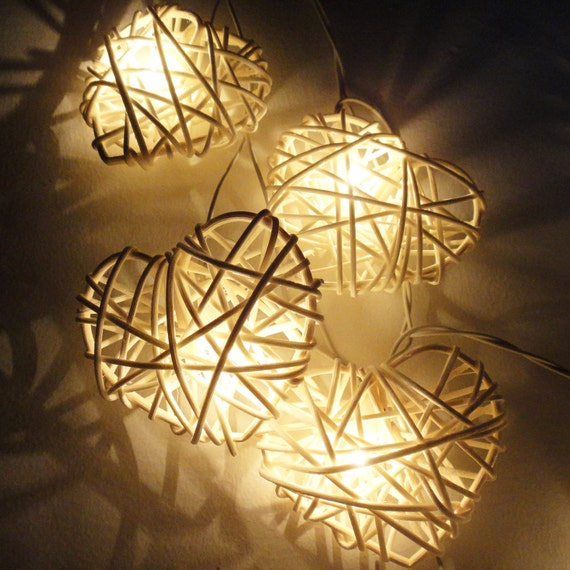 product size 3 metres long10 feet string lights each heart approximately 9 cm in diameter color white color style home - Valentine String Lights