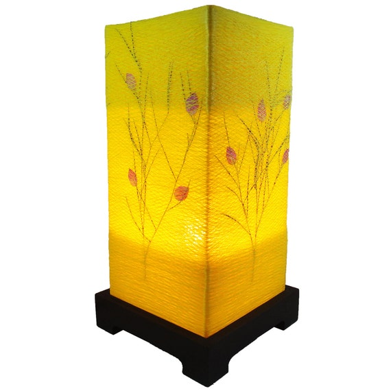 New Design Antique Vintage Yellow Natural Fiber Art Bedside or Table Lamp or Bedside Wood Paper Light Shades Furniture Home Decor