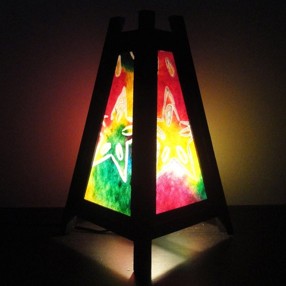 Asian Oriental Multi Colour Star Batik Art Bedside Desk or Table Lamp or Bedside Wood Paper Light Shades Furniture Home Decor