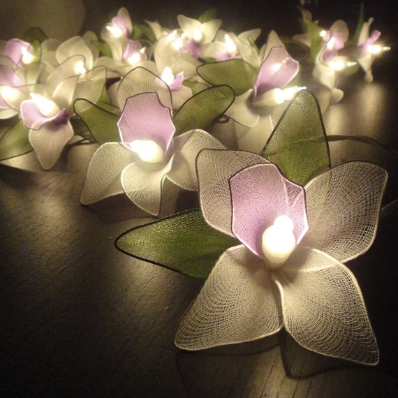 20 Purple-White-Green Orchid Flower Fairy String Lights Wedding Party Floral Home Decor 3.5m Floor Table or Hanging Gift