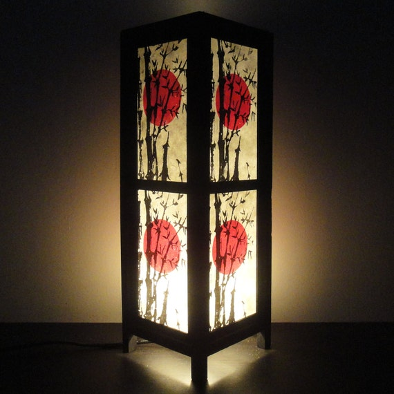 15'' Tall Asian Oriental Japanese Sunset Art Decor Bedside Table or Floor Lamp or Bedside Wood Paper Light Shades Furniture Home Decor