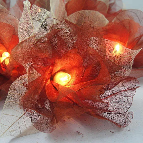 Battery or Plug 20 Brown Carnation Flower Fairy String Lights Hanging Party Patio Wedding Garland Gift Home Living Bedroom Holiday Decor