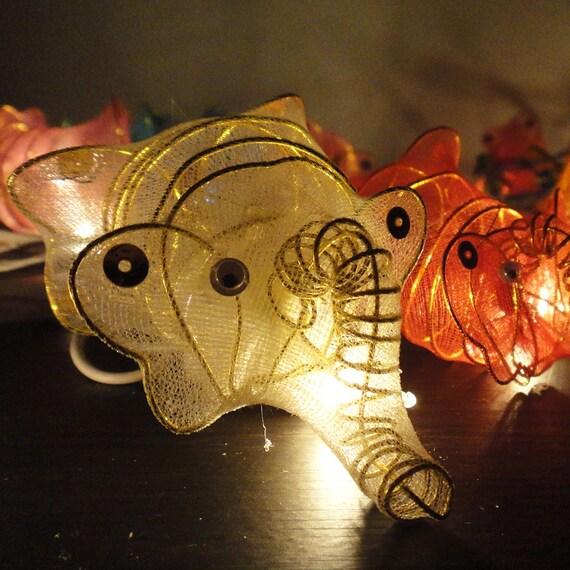 UL PLUG for myacarter00 20 Elephants Mammoths Asian Multi Colour Fairy Lights String Party Patio Wedding Floor Table or Hanging Gift