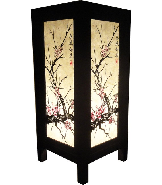 Asian Oriental CHERRY BLOSSOM TREE Bedside Table or Floor Wood Lamp Decor
