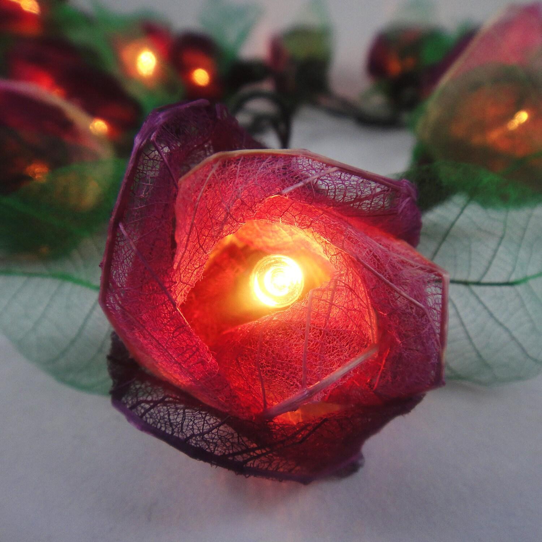 Flower String Lights Nz : 35 Purple Rose Flower Fairy String Lights Wedding by marwincraft