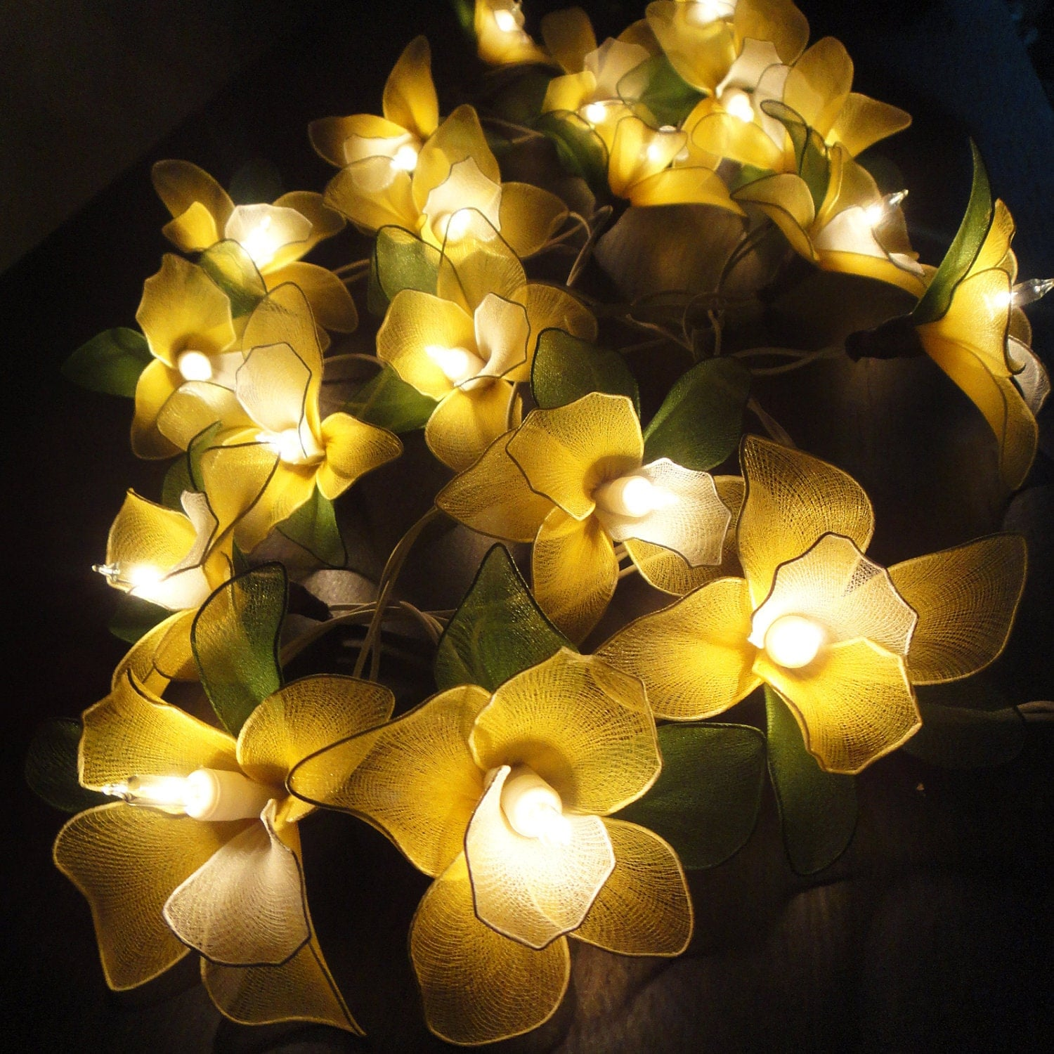 Argos Flower String Lights : 20 Yellow Orchid Flower Fairy String Lights Wedding by marwincraft