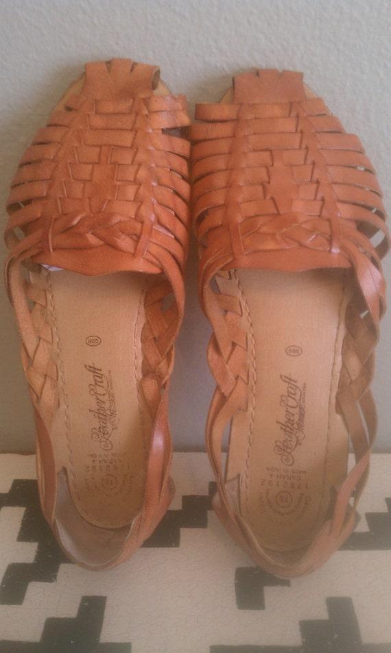 vintage light brown Leather woven huarache sandals sz 7.5/8
