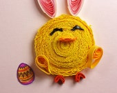 Easter Card - Quilled Chick with Bunny Ears and Egg