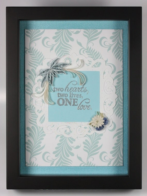 Quilled Flowers Wedding Art Framed Two Hearts, Two Lives, One Love Roses