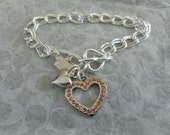 COACH Pink Crystal Heart Charm on Silver Plated Bracelet...BEAUTIFUL