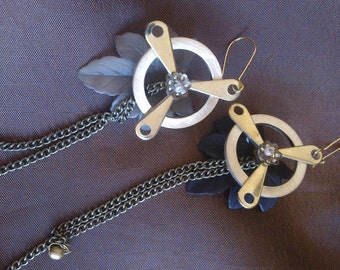 Firefly inspired Earrings for Steampunk  'Like a Leaf in the Wind'