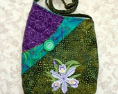 Small Quilted Shoulder Bag Purse with Embroidered Dwarf Crested Iris in Purple and Green.