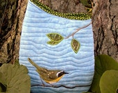 Small Quilted Shoulder Bag Purse with Common Yellowthroat Warbler Bird Applique