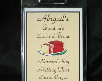Grandma's Zucchini Bread Handmade Natural Soy Melting Tart by Abigail's on Main
