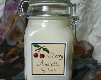 Cherry Amaretto Large Apothecary Jar Natural Soy Candle by Abigail's on Main
