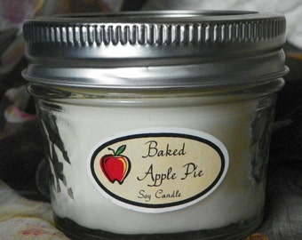 Baked Apple Pie 4 oz. Jelly Jar Natural Soy Candle by Abigail's on Main