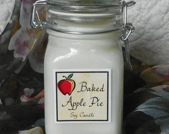 Baked Apple Pie Large Apothecary Jar Natural Soy Candle by Abigail's on Main