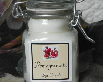 Pomegranate Small Apothecary Jar Natural Soy Candle by Abigail's on Main