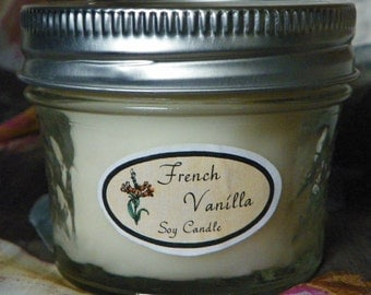 French Vanilla 4 oz. Jelly Jar Natural Soy Candle by Abigail's on Main