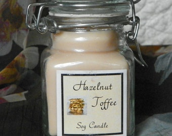 Hazelnut Toffee Small Apothecary Jar Natural Soy Candle by Abigail's on Main