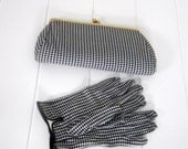 Vintage Houndstooth Clutch and Gloves Set